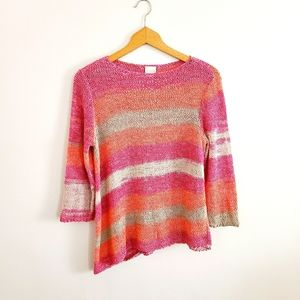 Chicos Rainbow Ribbon Knit Asymmetrical Hem Top